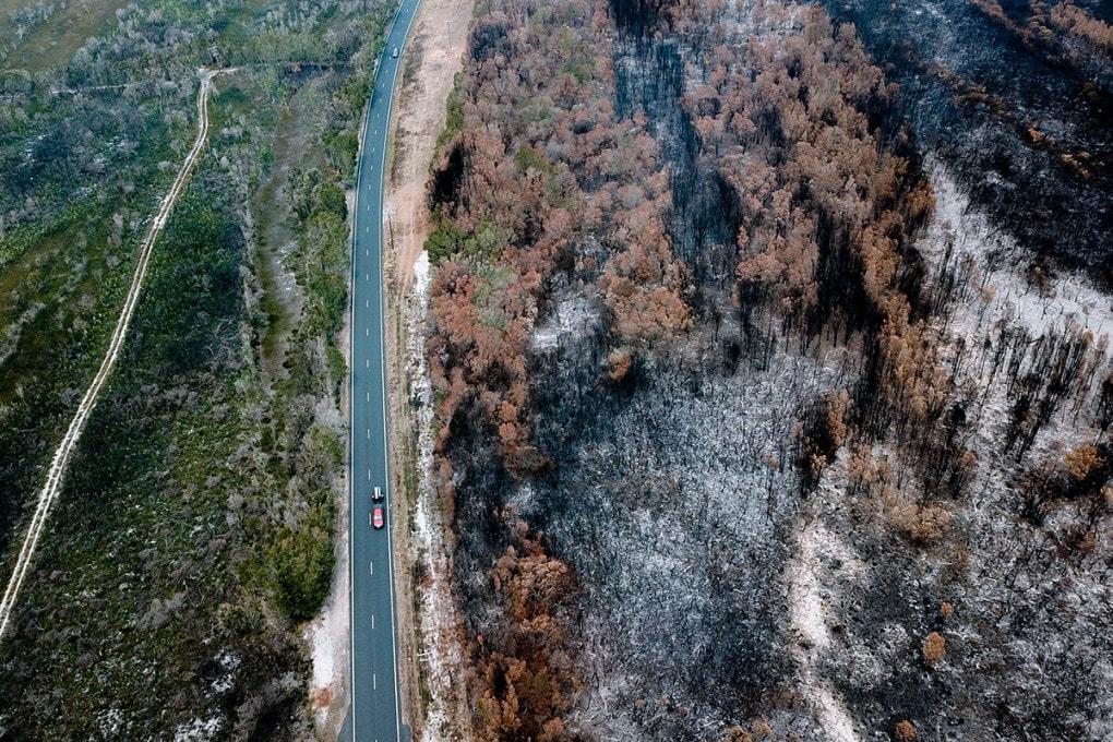 Una foto aerea degli incendi a Macquarie, New South Wales, Australia.