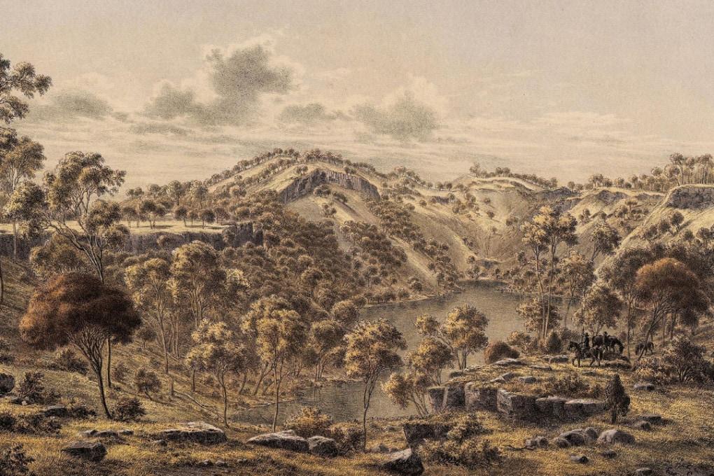 Illustrazione del vulcano Budj Bim