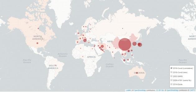 La mappa per tracciare la diffusione del coronavirus nel tempo