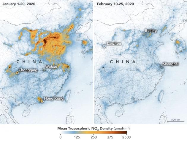 Effetto coronavirus: l'inquinamento atmosferico sopra la Cina si riduce