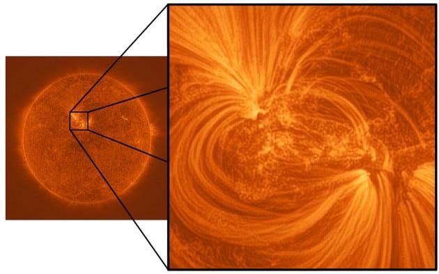 Un'immagine del Sole catturata durante il volo suborbitale del telescopio Hi-C, compiuto nel 2012