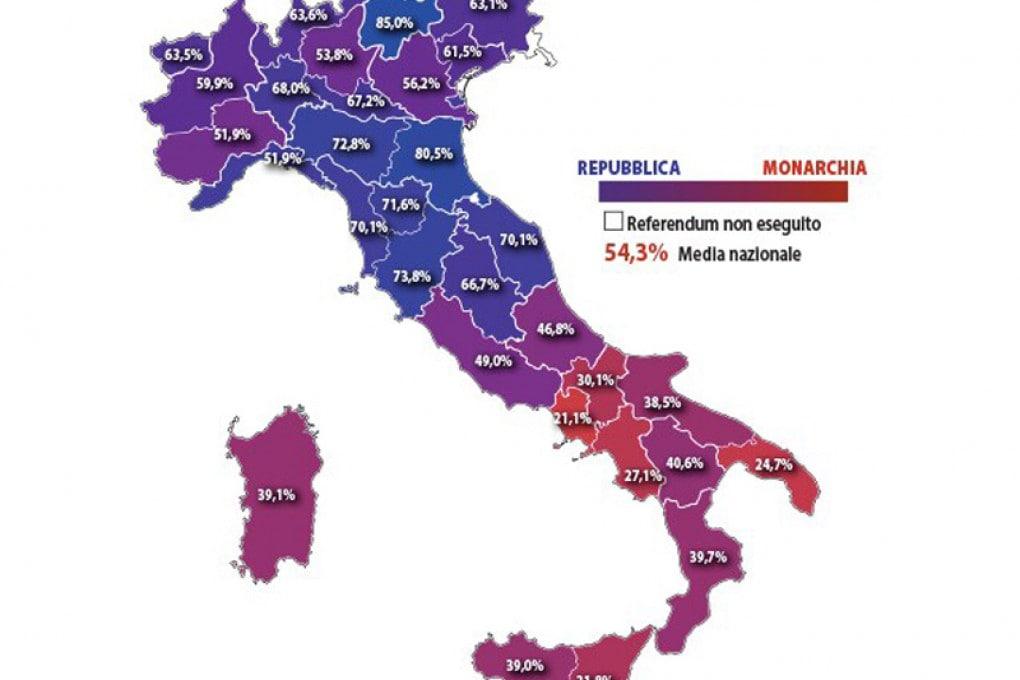 Il referendum del 1946: i risultati in percentuale, regione per regione