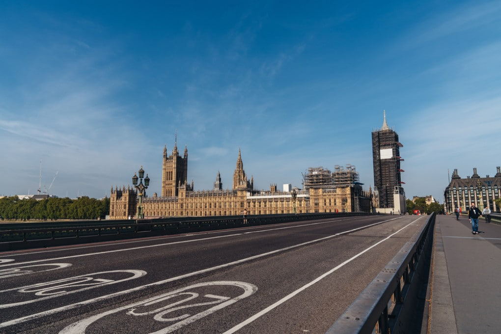 Lockdown in Europa - Il Westminster Bridge deserto in una foto del 25 aprile 2020, nel pieno del lockdown inglese.