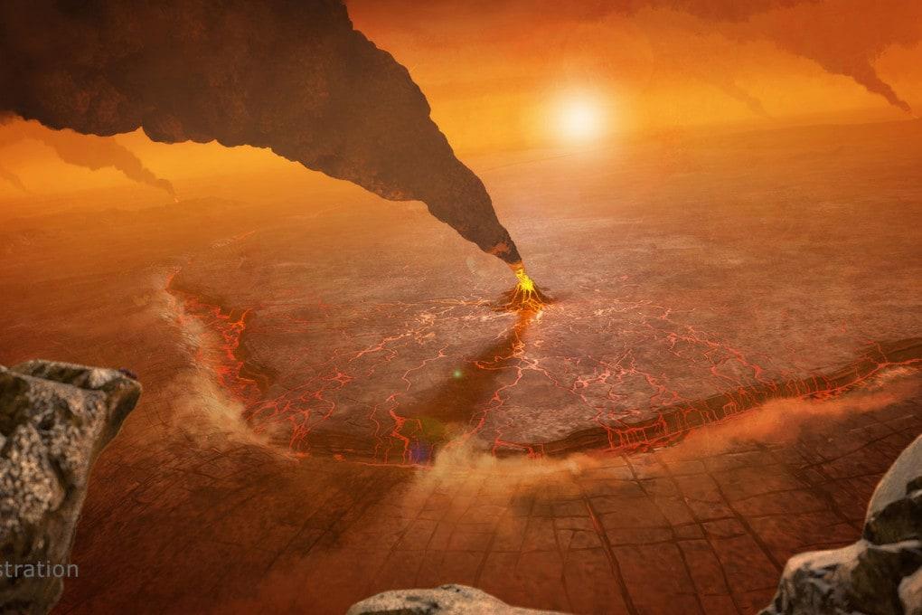 Venere: vulcani attivi, illustrazione
