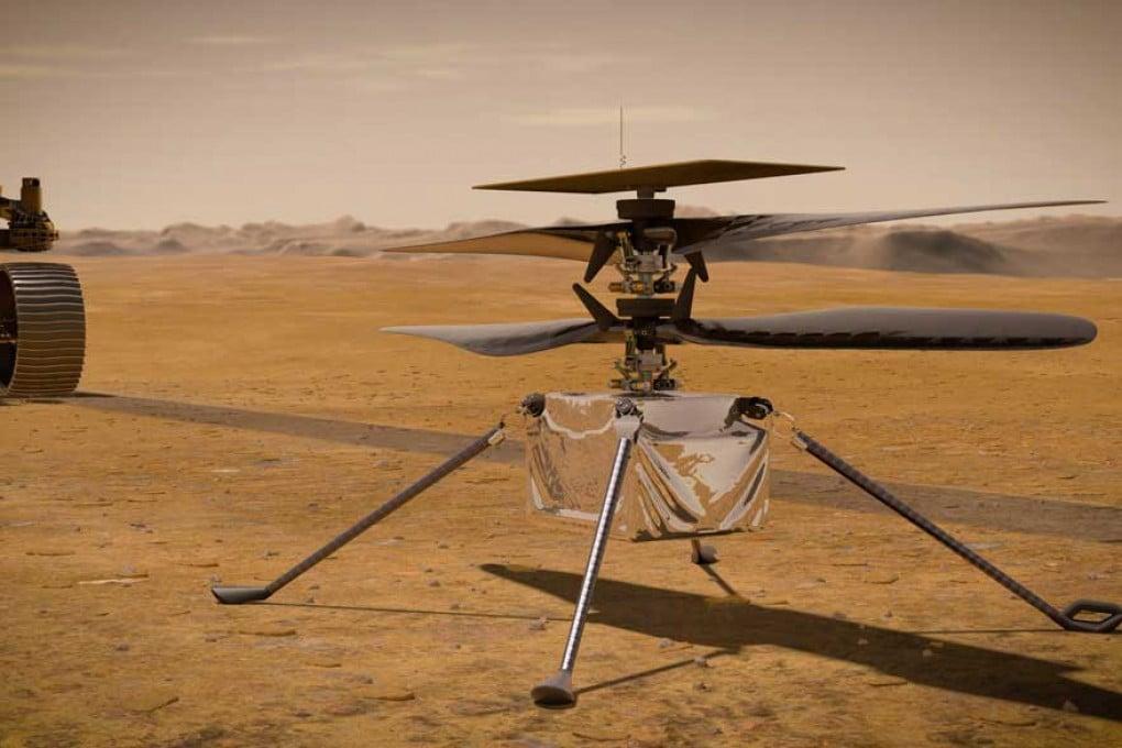 Mars 2020: Ingenuity su Marte, illustrazione.