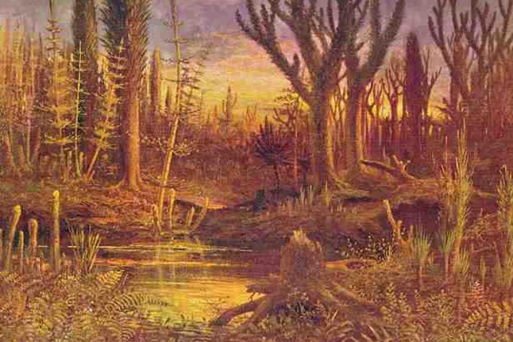 Illustrazione: ricostruzione di un paesaggio del Devoniano.