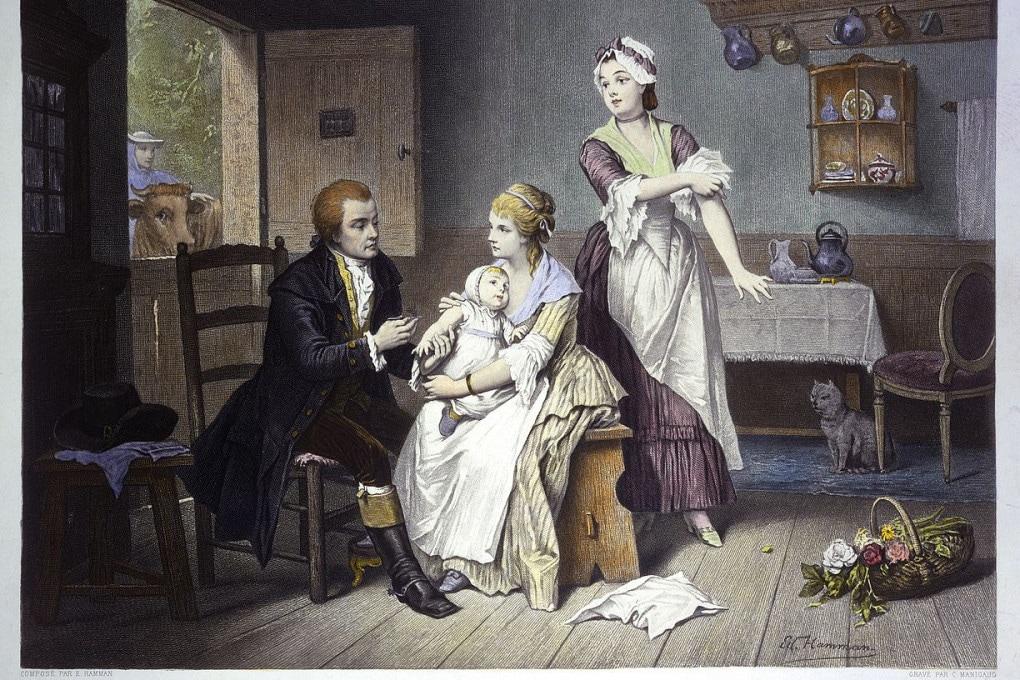 Questa illustrazione celebra Edward Jenner e la prima vaccinazione mai fatta.