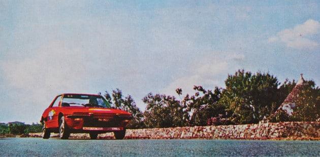 Mobil Economy Run 1973: il passaggio dell'aggressiva FIAT X1/9 a Selva di Fasano (Brindisi).