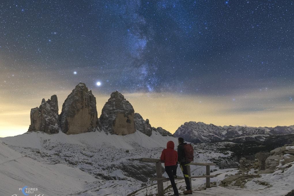 Tre cime di Lavaredo con Giove e Saturno