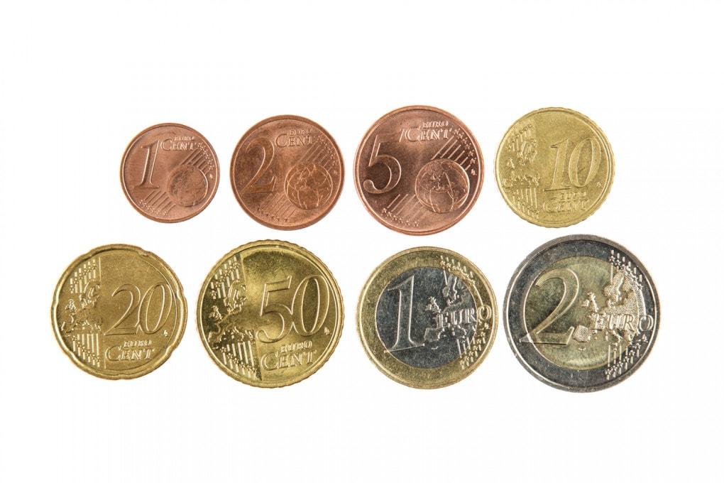 Monete: la serie da 1 centesimo a 2 euro.
