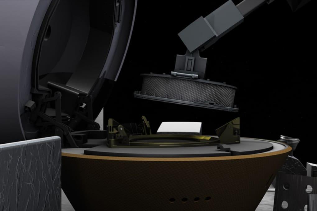 OSIRIS-REx (illustrazione): il braccio robot TAGSAM e la Sample Return Capsule, il modulo che riporterà i campioni a Terra.