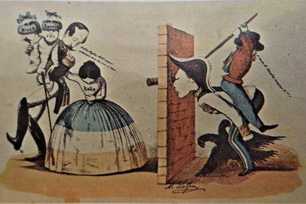 Vignetta satirica sulla cessione di Nizza e Savoia alla Francia