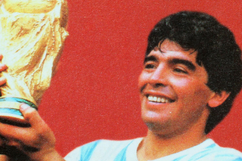 Un francobollo celebrativo della vittoria dell'Argentina di Diego Armando Maradona ai mondiali di calcio di Messico 1986.