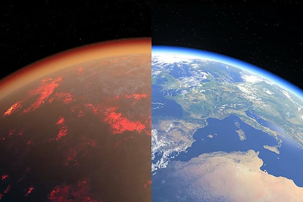 L'atmosfera ricca di CO2 della Terra delle origini e quella attuale, in una ricostruzione artistica.
