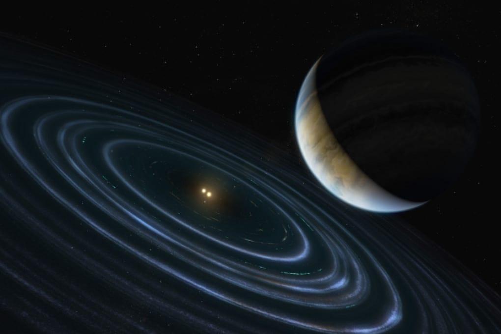 HD 106906 b e la sua coppia di stelle binarie, in una rappresentazione artistica.