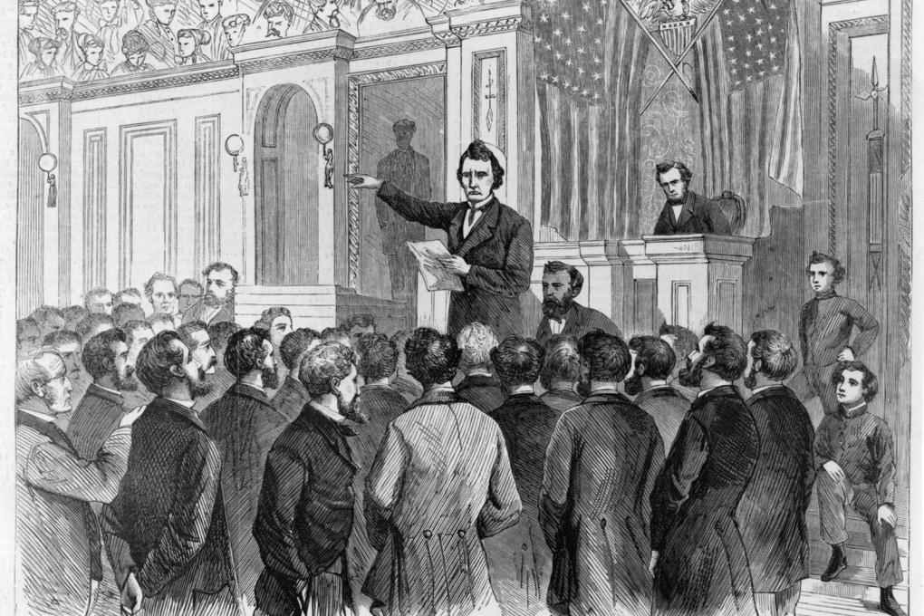 2 marzo 1868: l'arringa finale dell'accusa durante il dibattito per l'impeachment di Andrew Johnson, 17° presidente degli Stati Uniti.