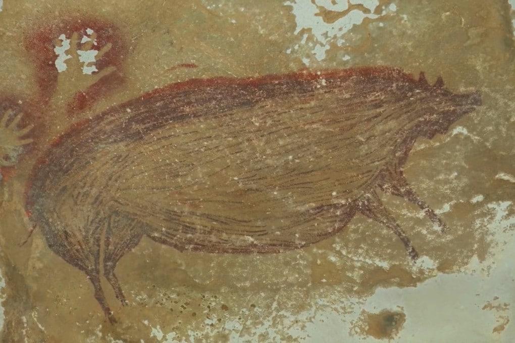 Il disegno ritrovato nella grotta indonesiana. Risale a 45.500 anni fa