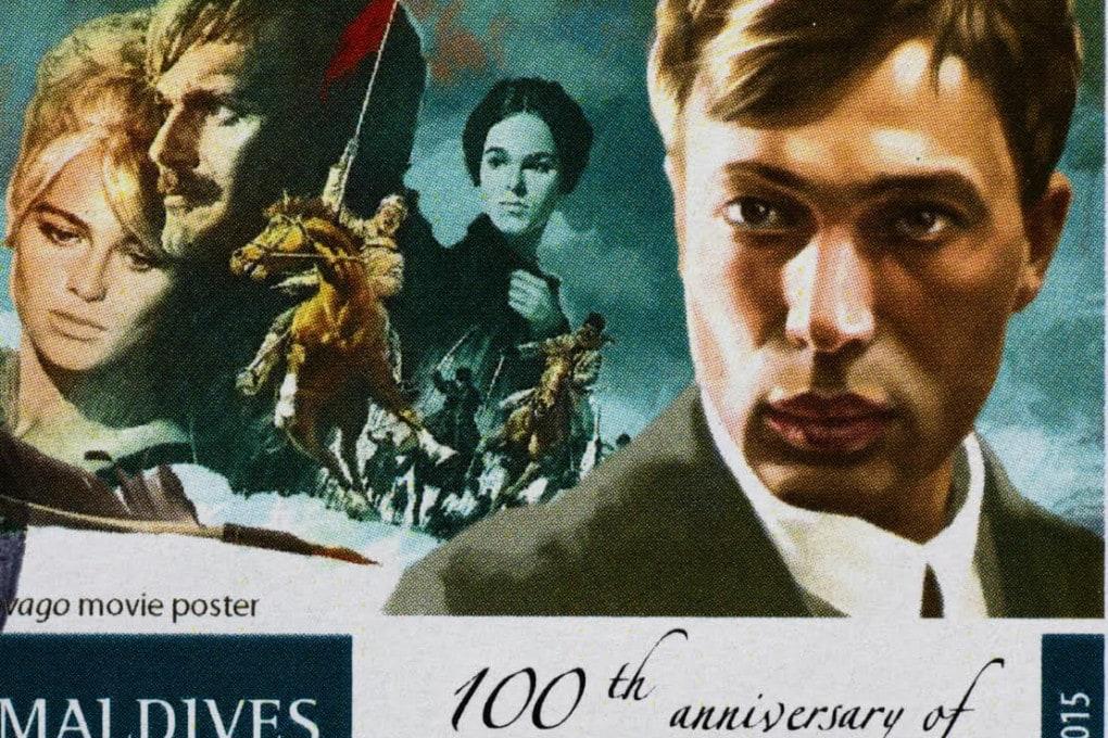 Ritratto di Boris Pasternak con la locandina del film di David Lean (1965) Il dottor Zivago.