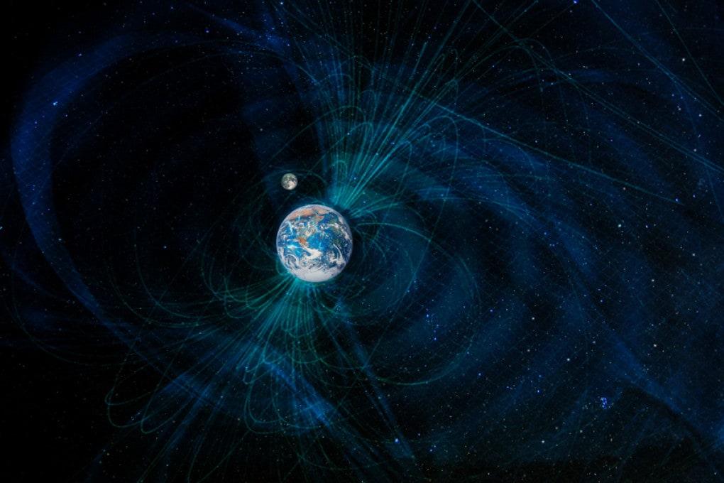La magnetosfera terrestre in un'illustrazione scientifica.
