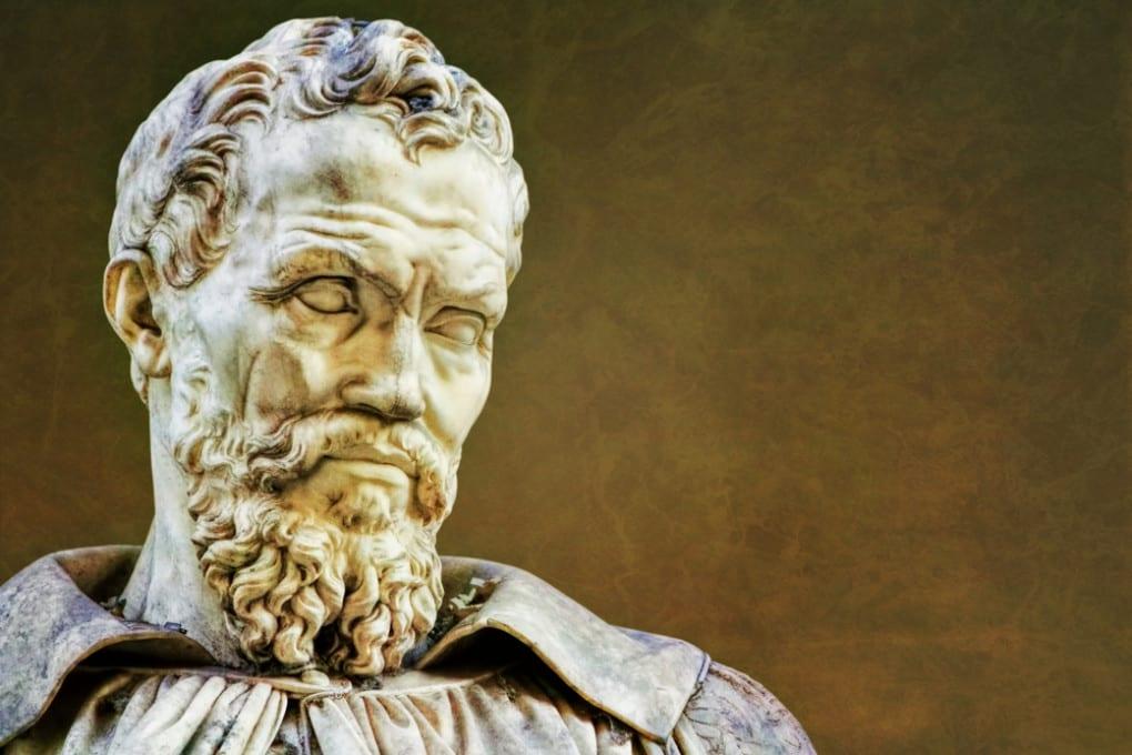 Il busto in bronzo realizzato da Michele da Volterra dalla maschera funeraria di Michelangelo Buonarroti ( 1475 - 1564).