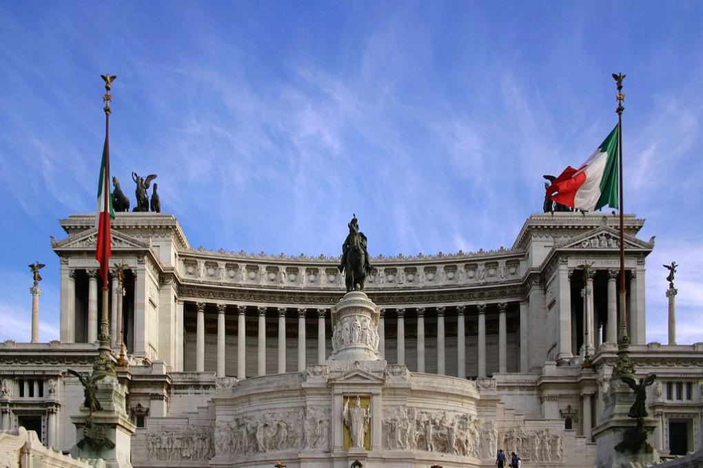 Il Vittoriano, il monumento a Vittorio Emanuele II in piazza Venezia, Roma.