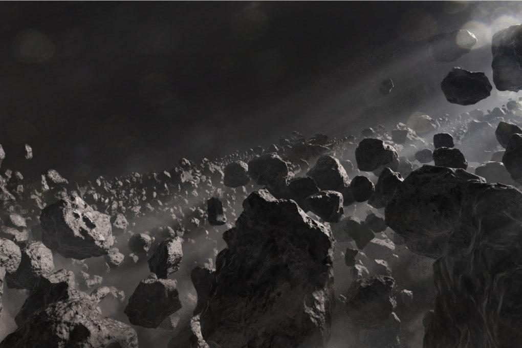 Illustrazione: un campo di asteroidi.