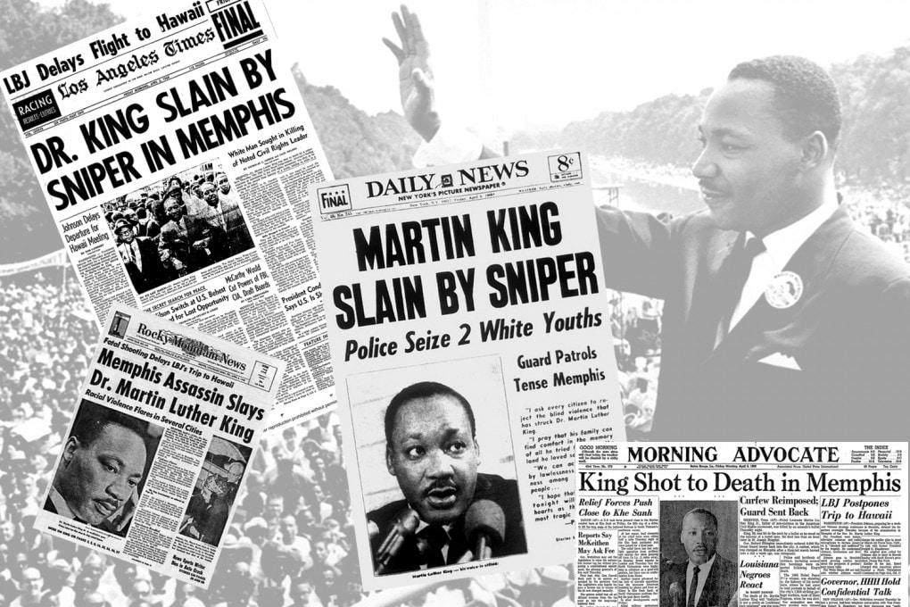 Martin Luther King assassinato: i titoli dei giornali USA il giorno dopo, il 5 aprile 1968.