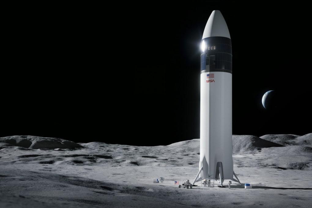 La StarShip di Space X sul suolo lunare, in una rappresentazione artistica.