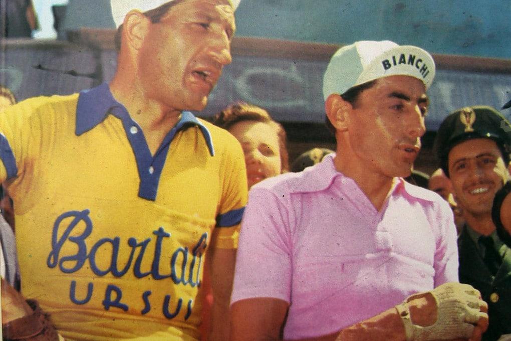 Gino Bartali col suo rivale di sempre, Fausto Coppi.