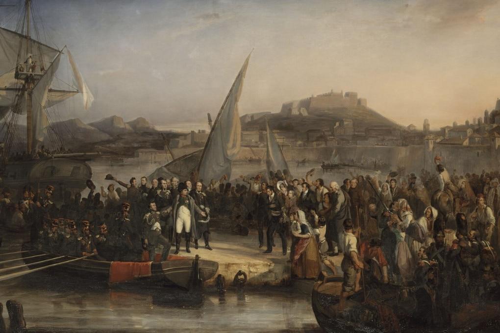 26 febbraio 1815: Napoleone lascia l'isola d'Elba per tornare in Francia in un quadro dell'epoca.