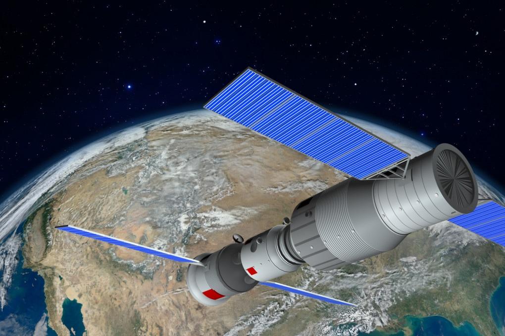 Una ricostruzione grafica della futura stazione spaziale cinese.