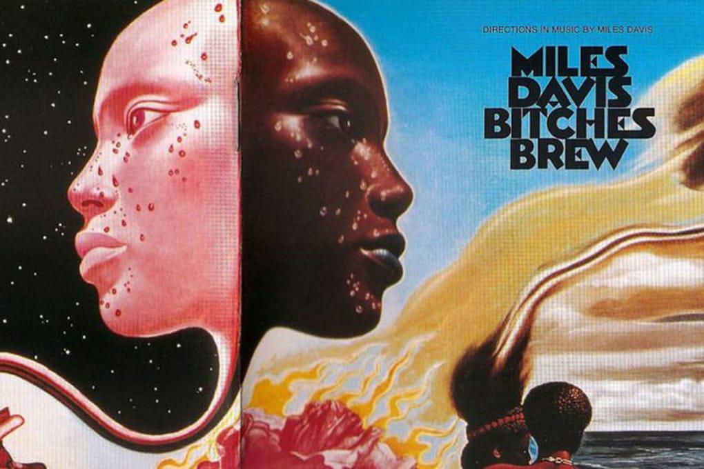 La copertina di Bitches Brew (1969, Miles Davis), disegnata da Mati Klarwein: vedi l'immagine intera.