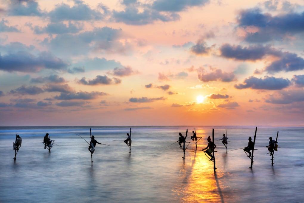 Pesca sulle pertiche nello Sri Lanka.