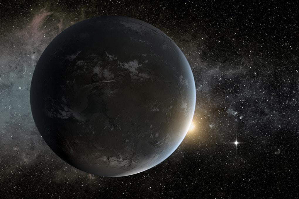 Rappresentazione artistica dell'esopianeta roccioso Kepler-442b, una super terra che orbita attorno a una stella di tipo K in 112,3 giorni.