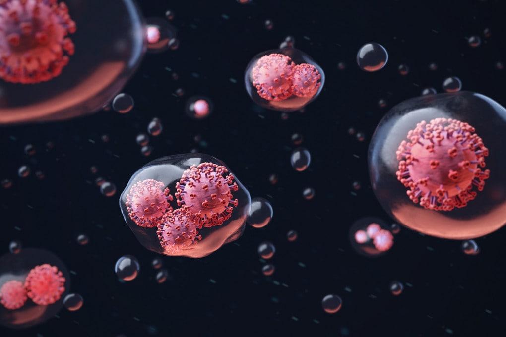 Il coronavirus SARS-CoV-2 negli aerosol esalati: un'illustrazione scientifica.