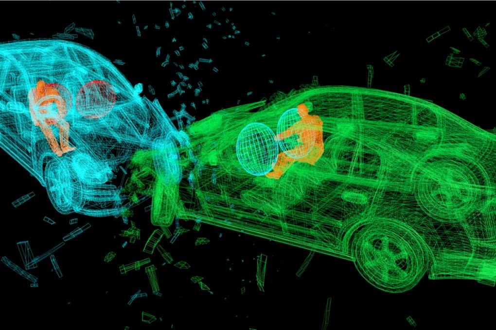 Analisi di un incidente automobilistico: un rendering 3D.