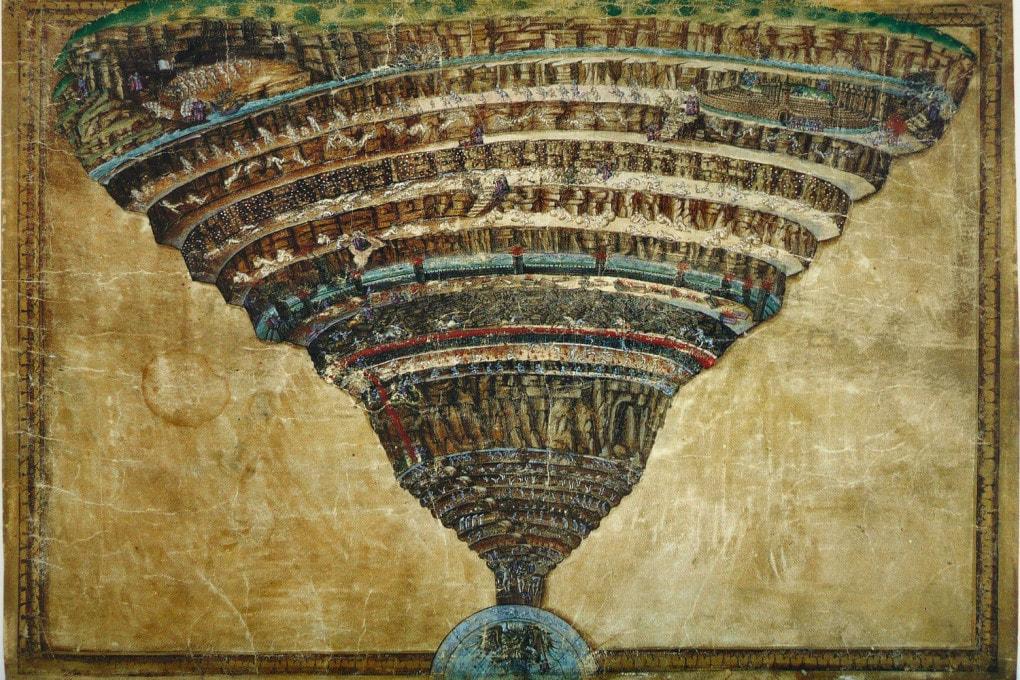 La voragine infernale, di Sandro Botticelli: una mappa per l'Inferno di Dante.