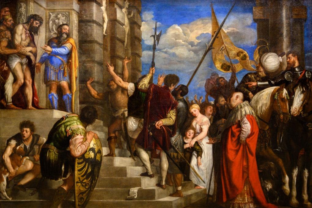 Ponzio Pilato mostra alla folla Gesù flagellato nel dipinto
