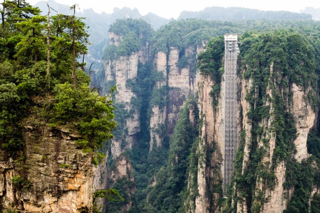 Il Bailong Elevator, a Wulingyuan, in Cina