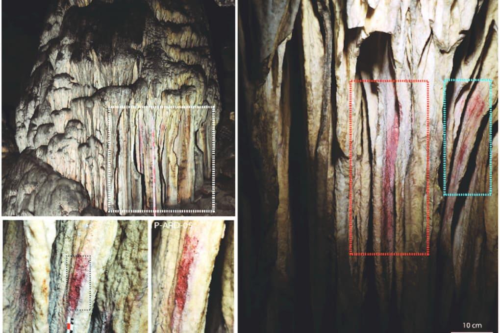 Stalagmiti dipinte della grotta di Cueva de Ardales