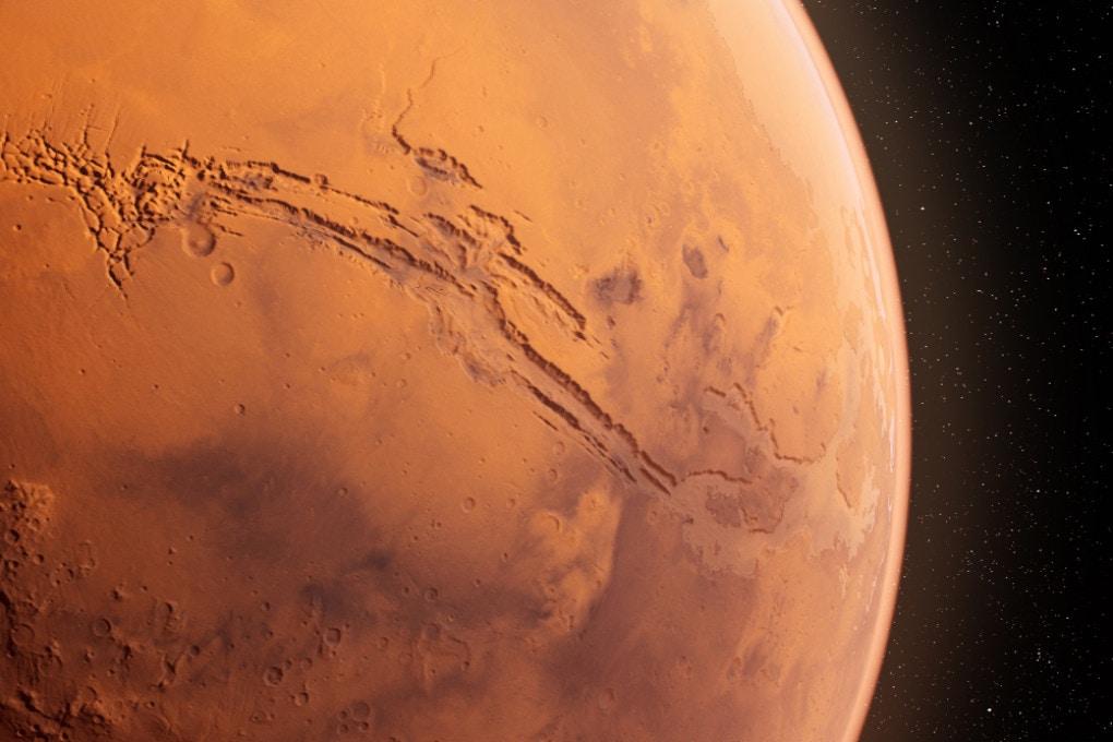 Marte: un'immagine in 3D di Valles Marineris, il canyon più grande del Sistema Solare.