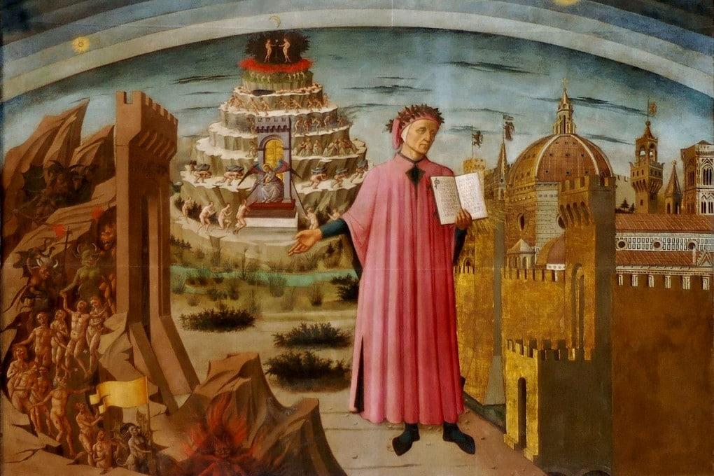 Dante ed i tre regni, di Domenico di Michelino (1465, olio su tela, 290x232 cm), a Firenze, in Santa Maria del Fiore.