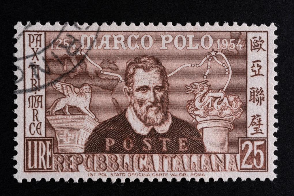 Francobollo commemorativo di Marco Polo, stampato nel 1954.