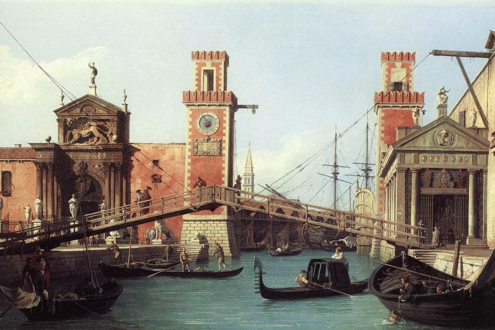 L'entrata dell'Arsenale, con il ponte mobile, dipinta dal Canaletto intorno al 1730.