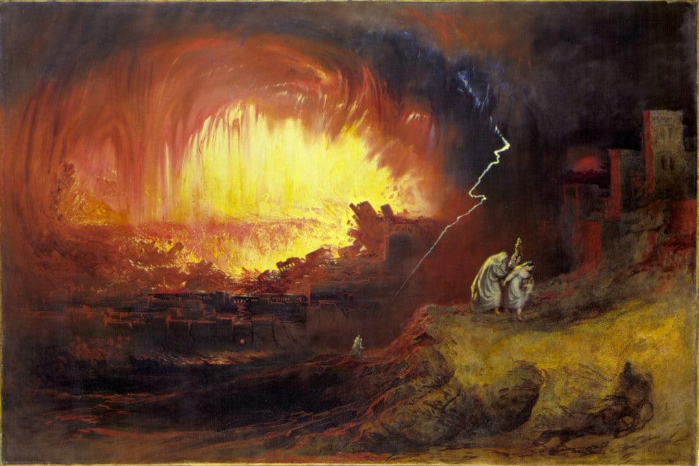 La distruzione di Sodoma e Gomorra, dipinto di John Martin (1852).