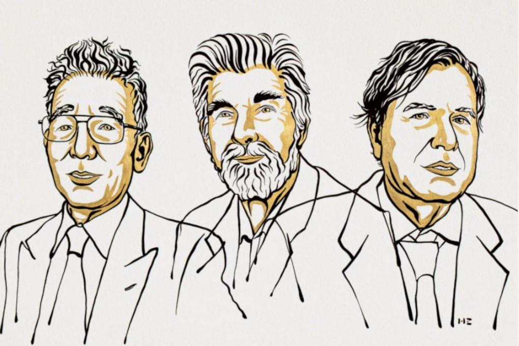 Da sinistra: Syukuro Manabe, Klaus Hasselmann, Giorgio Parisi.