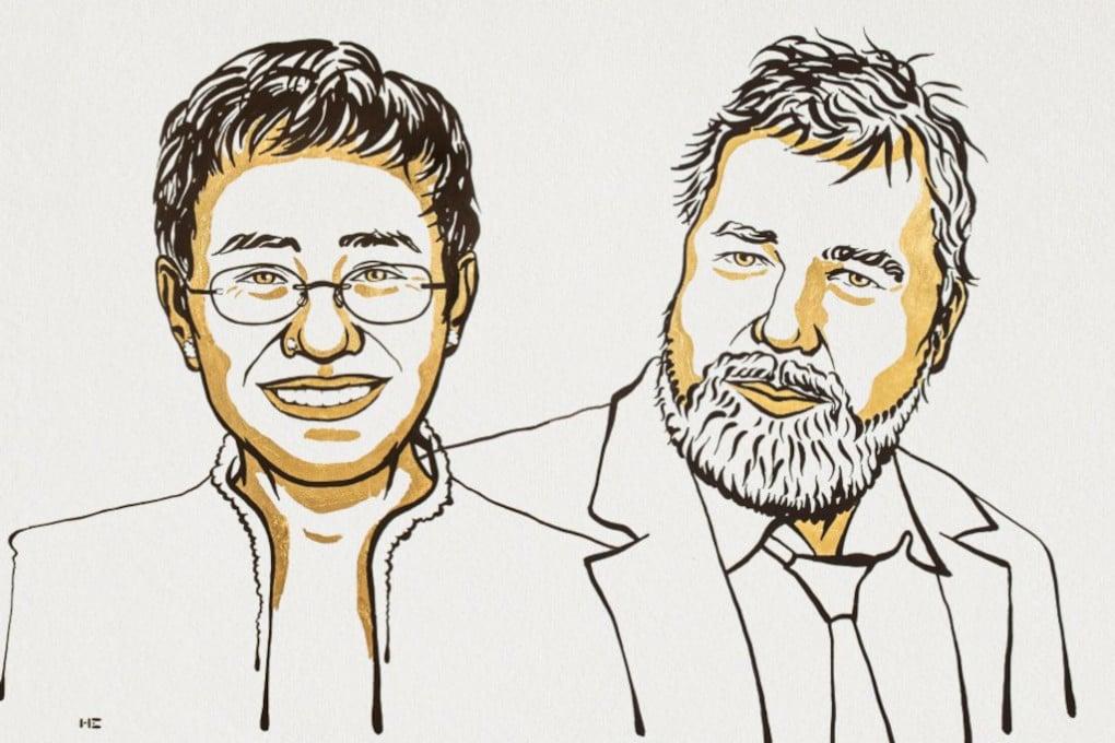 Nobel 2021 per la pace: (da sinistra) Maria Ressa e Dmitry Andreyevich Muratov.