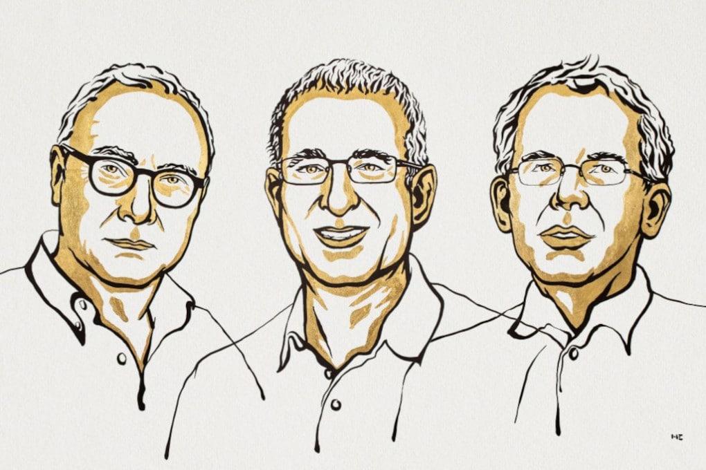Nobel 2021 per l'economia: (da sinistra) David Card, Joshua D. Angrist, Guido W. Imbens.