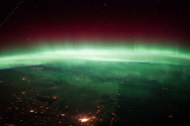 L'aurora boreale sopra il Nord America