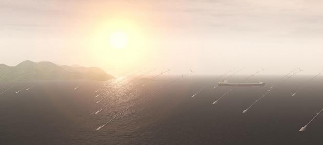 Energia dal vento con un serpente di turbine